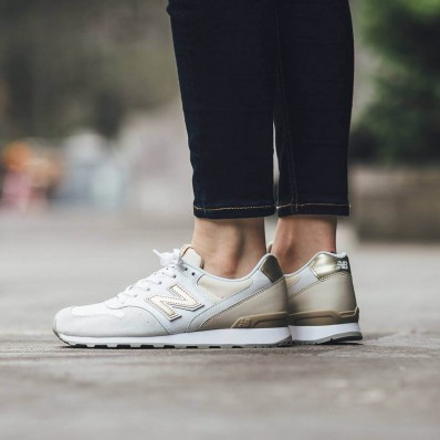 new balance white and beige